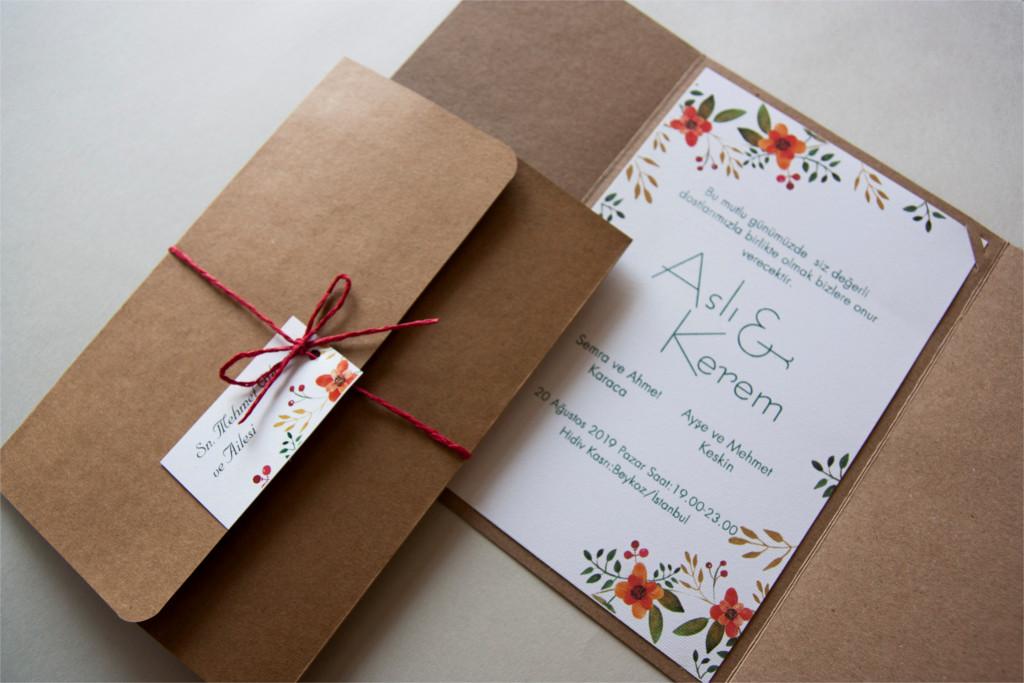 katlanabilir kraft zarflı beyaz davetiye