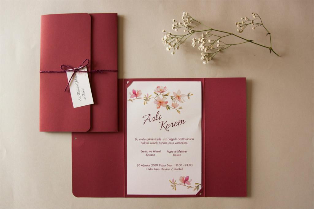isim kartlı kırmızı ipli davetiye