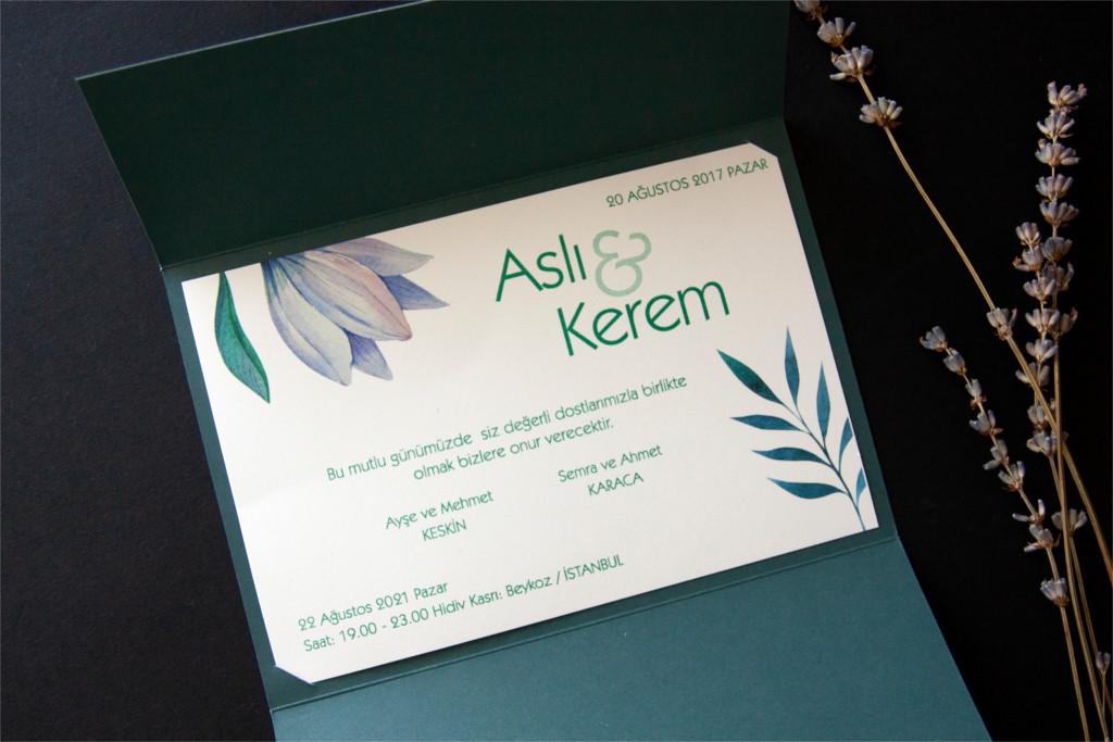 katlanabilir yeşil zarflı davetiye