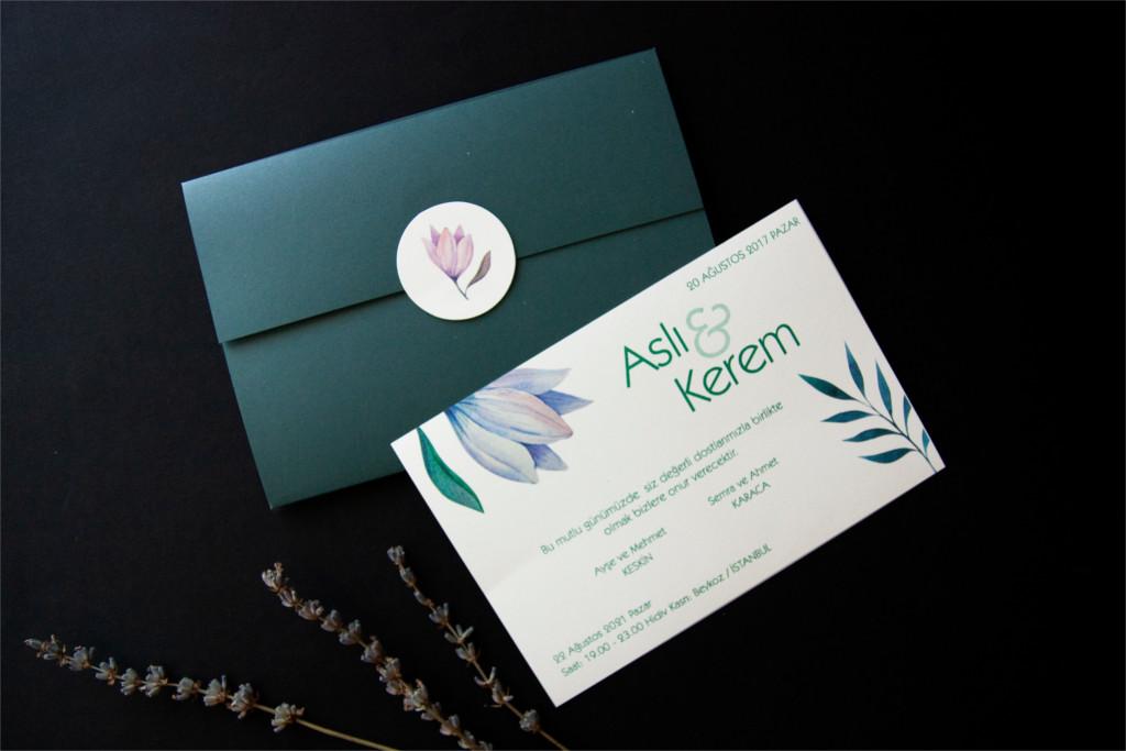 yaprak desenli beyaz davetiye