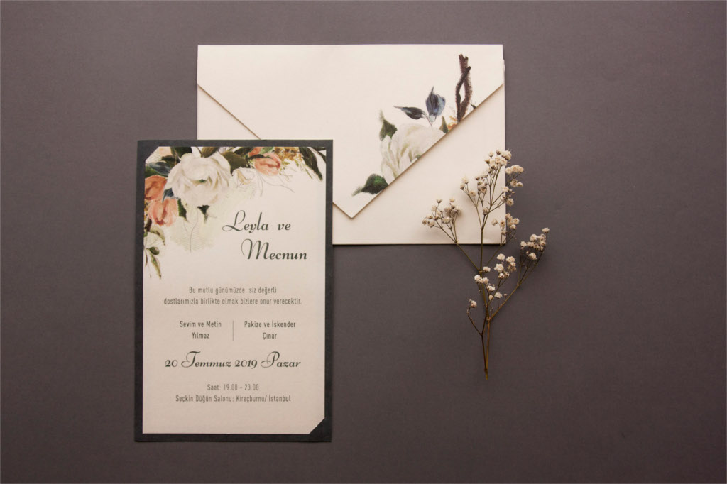 zarfı çiçekli davetiye