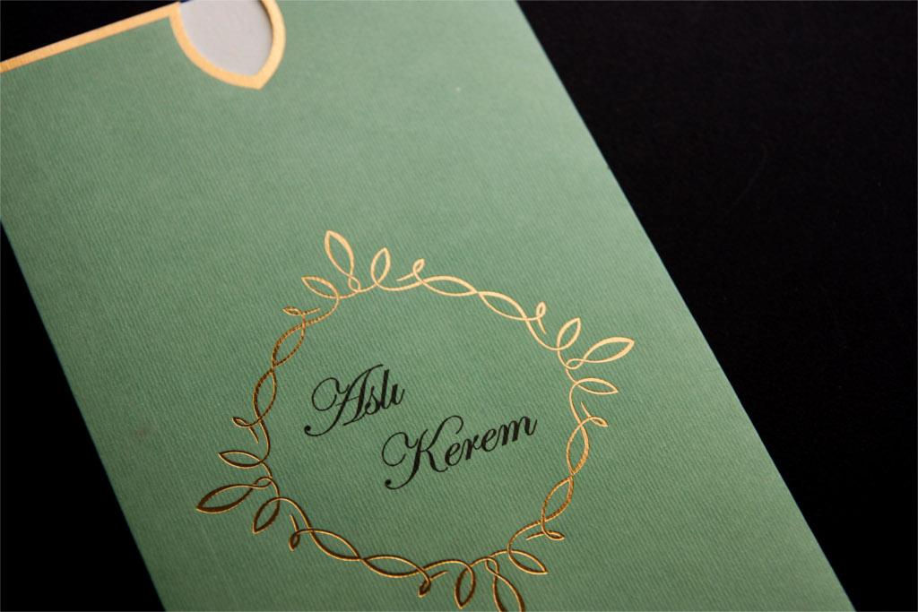 yeşil özel zarflı davetiye