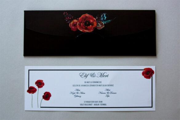 siyah zarflı beyaz davetiye