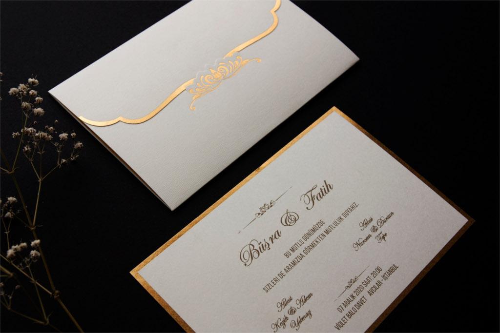 altın renk kenarlı davetiye
