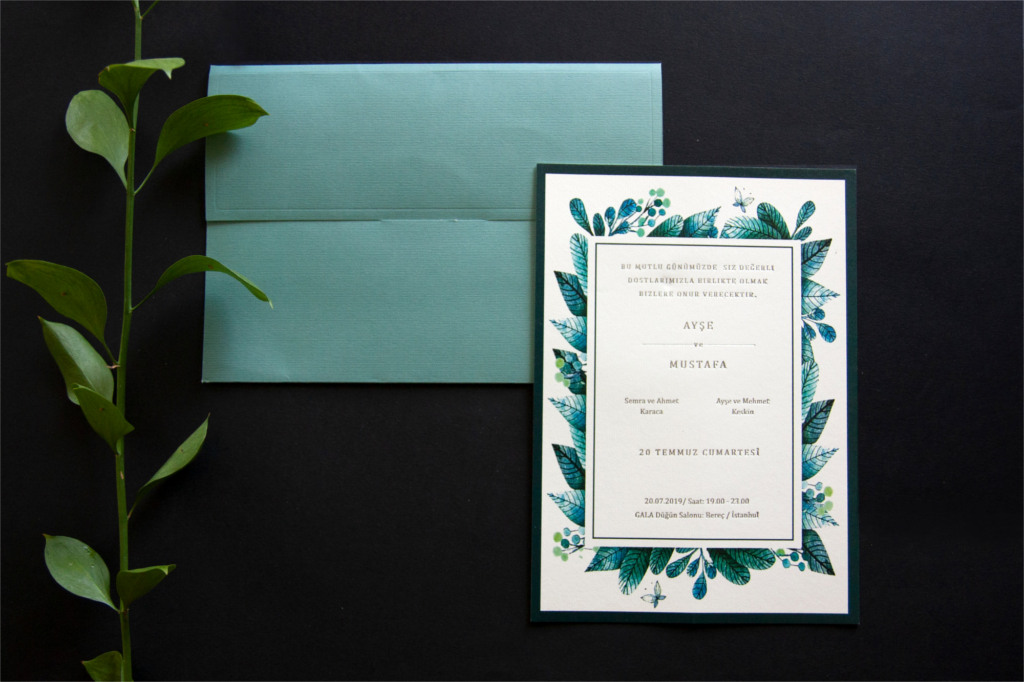 renkli zarflı davetiye