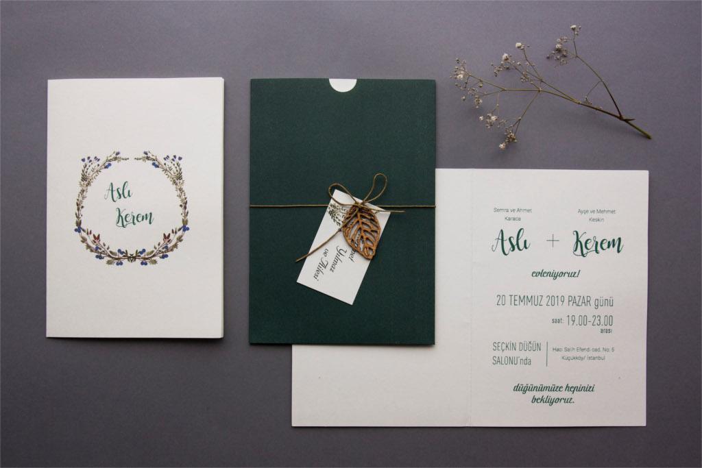 özel yeşil zarflı isim kartlı davetiye