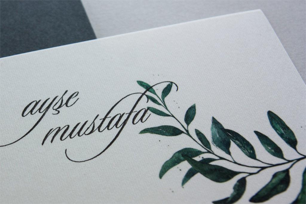 yaprak desenli davetiye