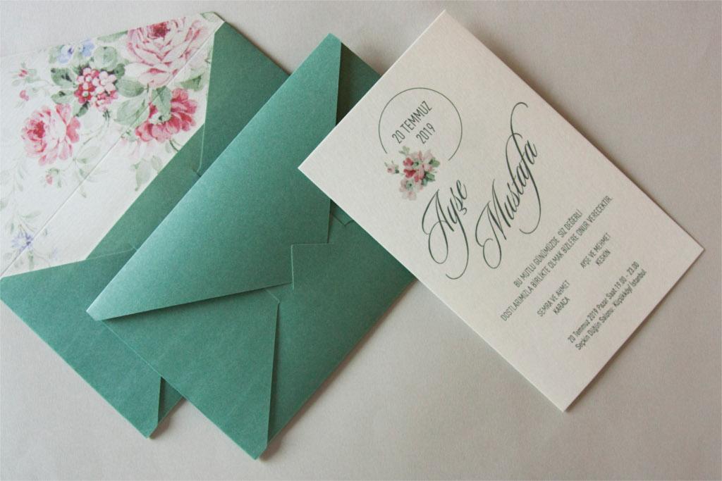 açık yeşil şık davetiye