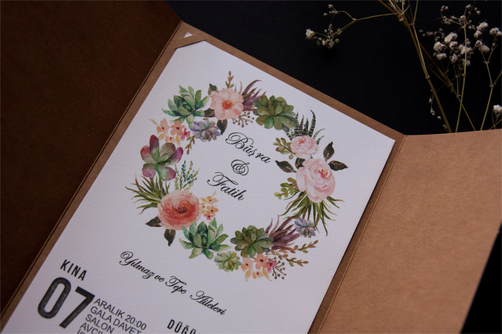 rengarenk çiçekli davetiye