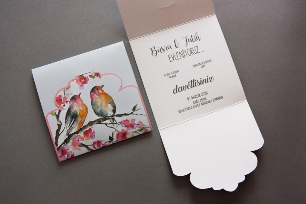 katlanabilir kuş resimli davetiye