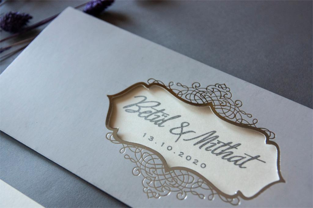 pencereli gri zarflı davetiye
