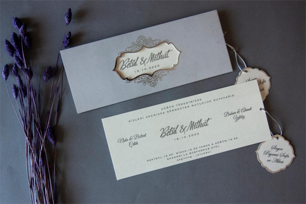 isim kartlı krem davetiye