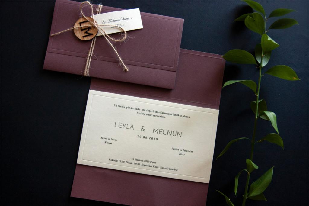 hasır ipli renkli zarflı davetiye