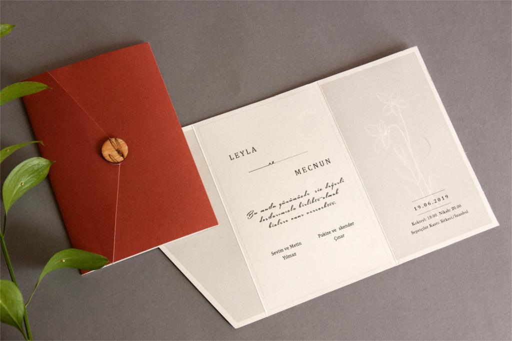 katlanabilir düğün davetiyesi