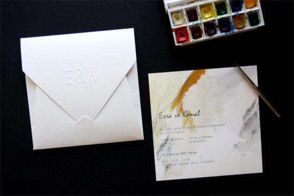 sulu boya desenli davetiye