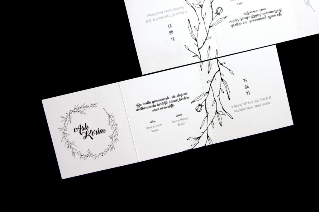 yaprak desenli düğün davetiyesi