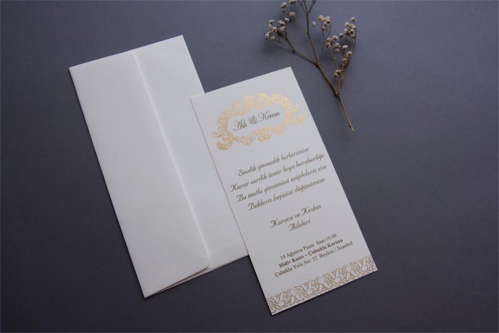 beyaz zarflı uzun davetiye